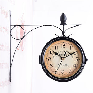 European-style Classic Monochrome Double-sided Wall Clock