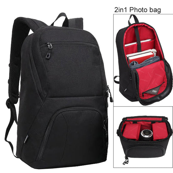 Black Large Capacity 2 in 1 Photo Camera Waterproof Backpack