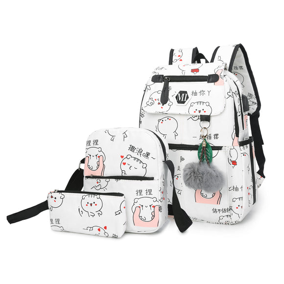 USB Charging Canvas Backpack 3 Pcs/set Women School Backpack