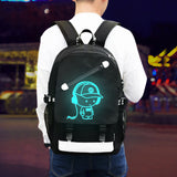 Aelicy Luminous Teenager USB Charging Backpack w/Anti-theft Lock