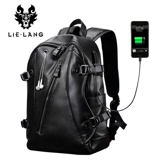 LIELANG External USB Charge Waterproof Backpack Leather