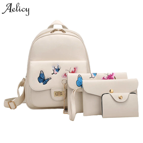 Aelicy 4pcs Butterfly Embroidery Leather Backpack