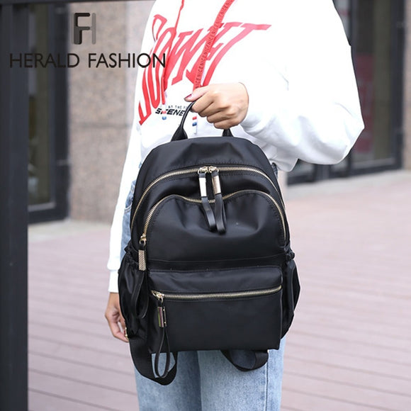 Herald Casual Backpack Black Waterproof Nylon