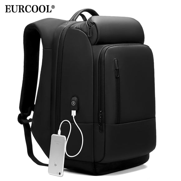 EURCOOL 17 inch Laptop USB Charging Port Backpack Water Repellent
