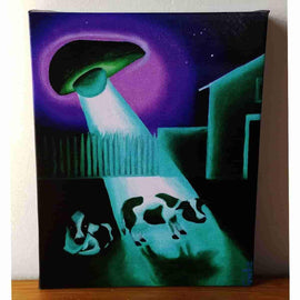 """Missing Time"" UFO Avocado Gallery Wrapped Canvas Print 8x10 by JesseJFR"