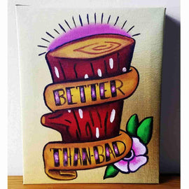 """Better Than Bad"" Ren & Stimpy Log Inspired Art Gallery Wrapped Canvas Print 8x10 by JesseJFR - iamRetro.com"