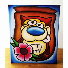 """Gritty Kitty"" Ren & Stimpy Inspired Art Gallery Wrapped Canvas Print 8x10 by JesseJFR - iamRetro.com"