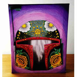 """Boba de la Muerto"" Boba Fett Star Wars Inspired Gallery Wrapped Canvas Print 8x10 by JesseJFR"