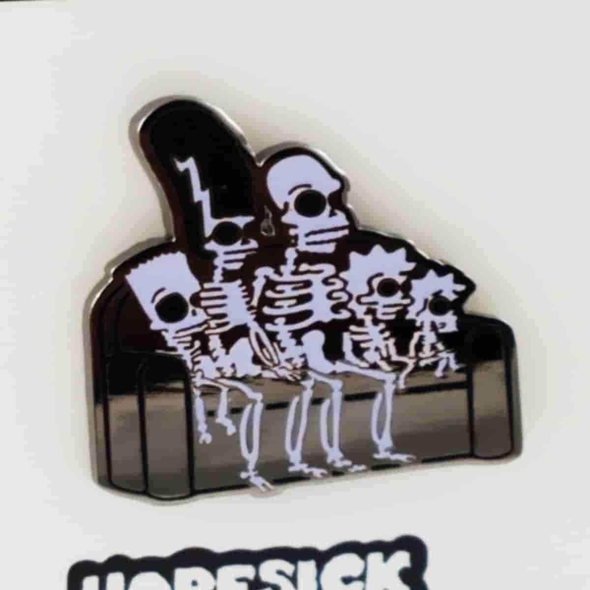 Simpsons GID Family Skeleton Couch Gag THOH Enamel Pin by Hope Sick