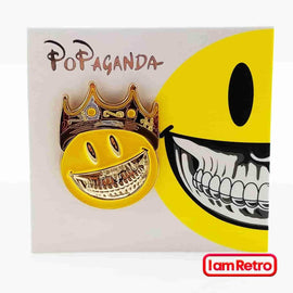 Mad Glad Grin with Crown Enamel Pin by Ron English Popaganda