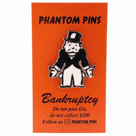 Broke Mr. Money Bags Enamel Pin by Phantom Pins - iamRetro.com