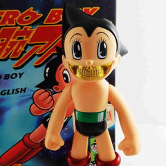Astro Boy Gold Grin  Metallic Exclusive Version - Ron English Popaganada SFBI Original Popaganda - IamRetro.com