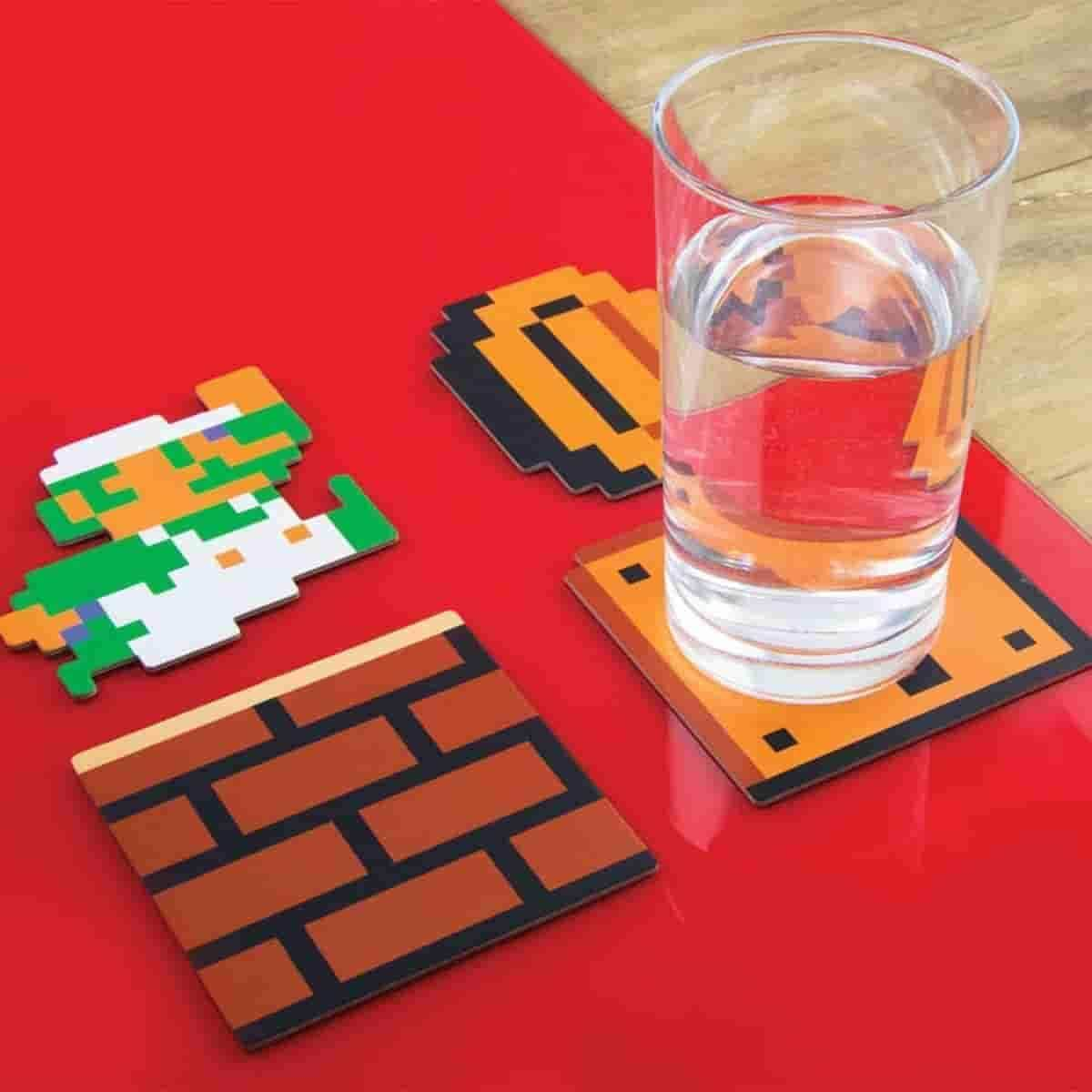 Nintendo NES Super Mario Bros. 8-bit Coaster Set of 20 Pieces - IamRetro.com