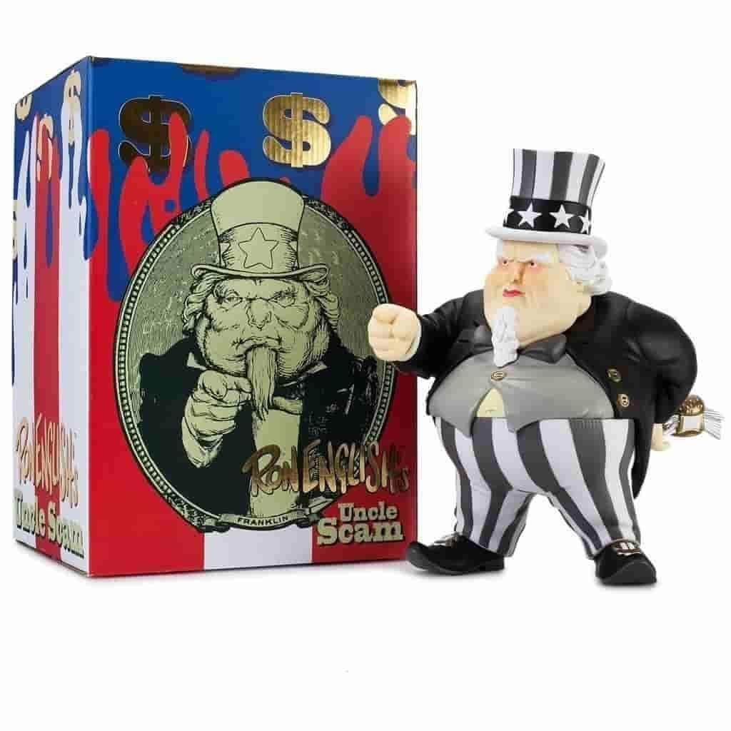 Uncle Scam - Black & Gold Rare Variant by Ron English x Kidrobot - IamRetro.com