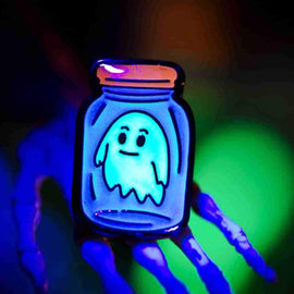 Ghost in a Bottle GID Enamel Pin by Hope Sick - iamRetro.com