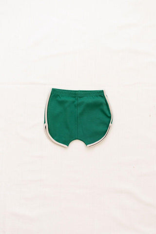 Fin & Vince Vintage Track Shorts - Emerald Green with Oatmeal Trim, Children's Bottoms - turquoise, llc