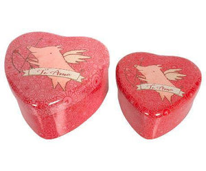 Maileg 2 Metal Hearts, Pig Set