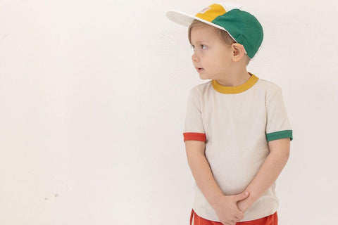 Fin & Vince Vintage Tee - Oatmeal with Tri Color Trim, Children's Tops - turquoise, llc