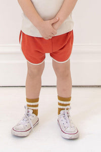 Fin & Vince Vintage Track Shorts - Brick Red with Oatmeal Trim, Children's Bottoms - turquoise, llc
