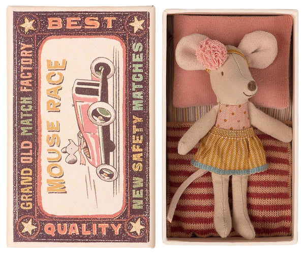 Maileg Little Sister Mouse in Matchbox, Children's Accessories - turquoise, llc