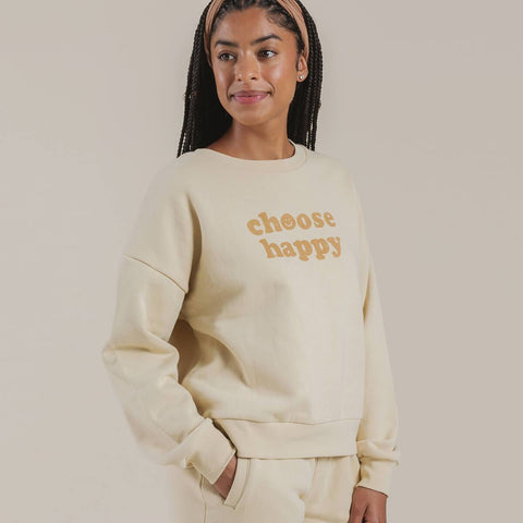 Rylee + Cru Women's Choose Happy Crew Neck