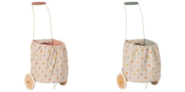 PREORDER Maileg Trolley, Multi Dots - Rose or Blue