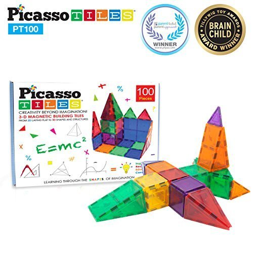 Picasso tiles NEW IN Magnet Tiles 100pc Clear Color 3D Magnetic Building Tiles
