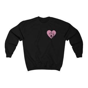 Custom Dog Silhouette Heart Crewneck Sweatshirt (1 Dog Only)