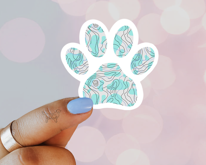 Sky Blue Topography Paw - Designs By Wildside