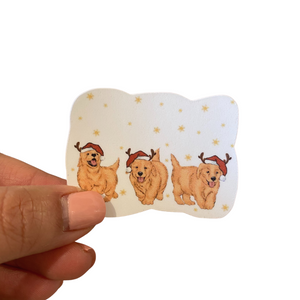 Santa's Puppies with Red Hats Stickers | Ready to ship (Free 1 per customer with your order )