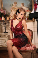 Sequin Vamp Dress (Red & Black)
