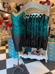 Sequin Vamp Dress (Emerald & Black)