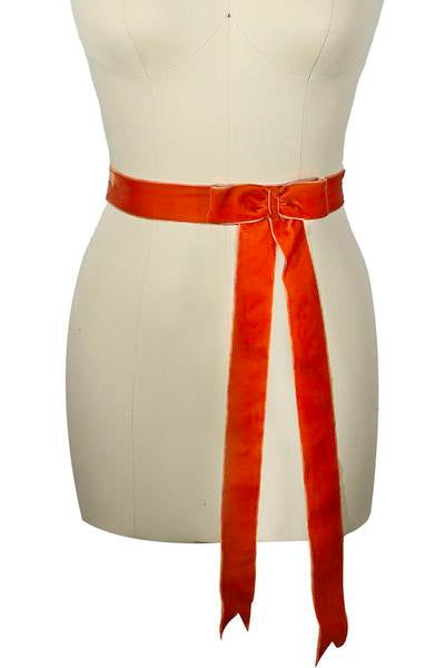D'Amour Velvet Bow Belt (Burnt Orange)