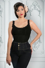 D'Amour Lace Trim Singlet (Black)