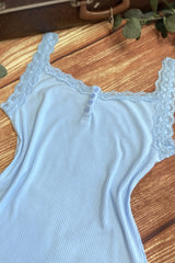 D'Amour Lace Trim Singlet (Blue)