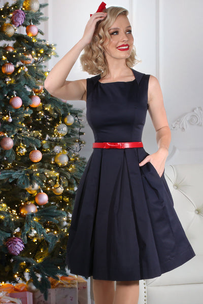 Christmas 1963 Harlow Dress (Navy)