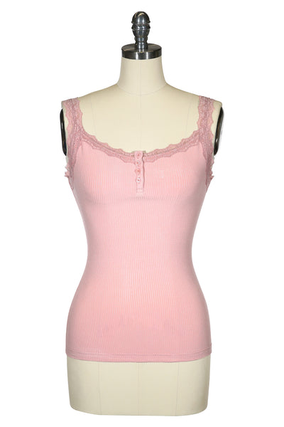 Follies Lace Trim Singlet (Dusty Pink)