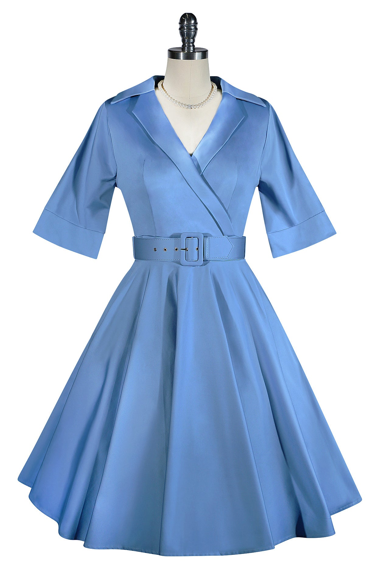 D'Amour Belted Collar Dress With Pockets Vintage Blue