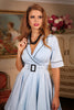 D'Amour Belted Collar Dress With Pockets Blue