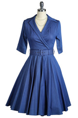 D'Amour Belted Collar Dress With Pockets (Denim)