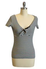 D'Amour Tie Jersey Top (Stripe)