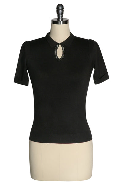D'Amour Keyhole Knit Top (Black)