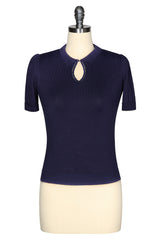 D'Amour Keyhole Knit Top (Navy)
