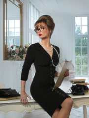 Hold The Line Collar Wiggle Dress (Black)