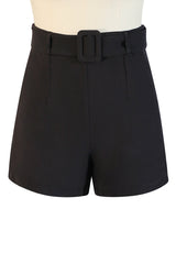 La Femme De Paris Plain Belted Shorts (Black)