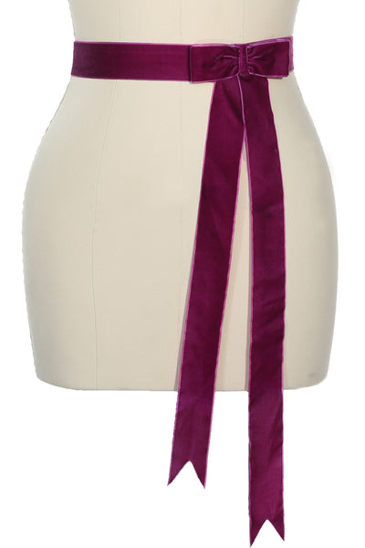D'Amour Velvet Bow Belt (Plum)