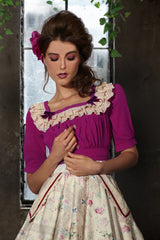 Madame Butterfly Crepe Ruffle Top (Plum)