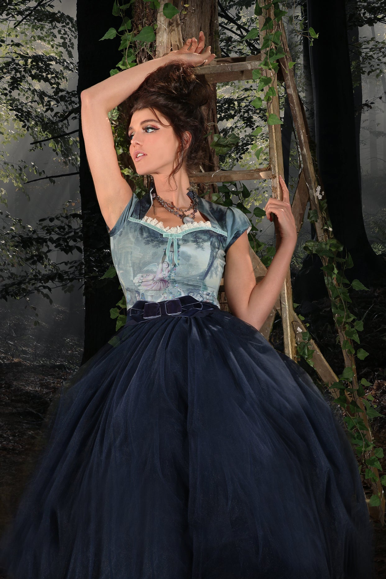Music Box Birdsnest Skirt (Navy)