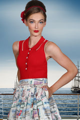 Postcards From Moscow Sleeveless Knit Top (Red)