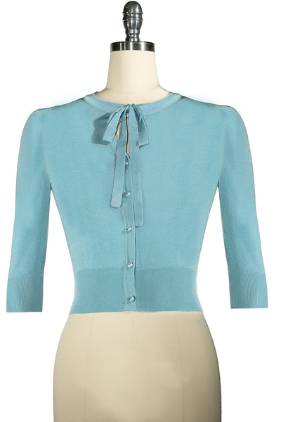 Postcards From Moscow Tie Neckline Cardigan (Blue)